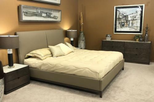 Wood Bedroom With Upholstered Bed