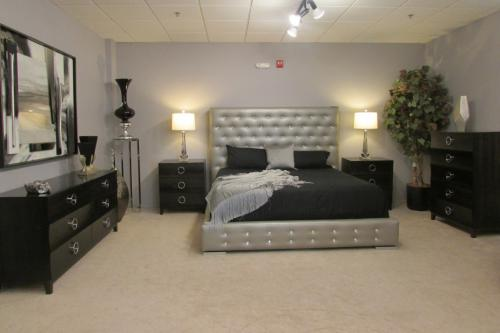 Wood Bedroom Shown With Upholstered Bed With Swarovski Crystal Accents