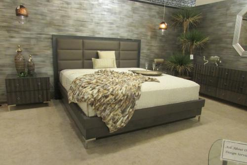 Wood Bedroom With Upholstered Headboard