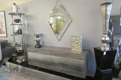 Travertine Mirror And Buffet