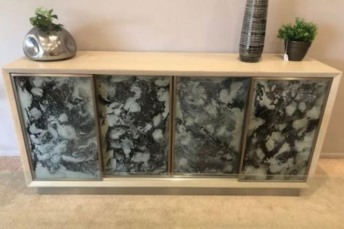 Media Cabinet With Hand Painted Glass Doors