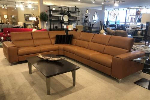 New! 5 Pc. Italian Leather Sectional With Motion