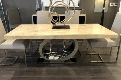 Marble Dining Table With Stainless Steel Base