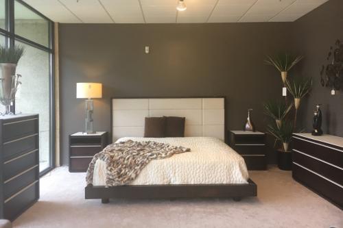 Wood Bedroom With Upholstered Headboard