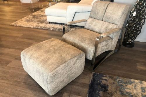 Leather Arm Chair & Ottoman