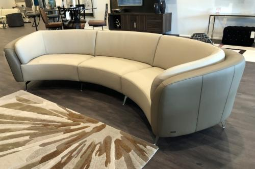 3 Pc.  Curved Leather Sectional
