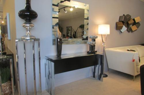 Hand Painted Glass Console and Mirror