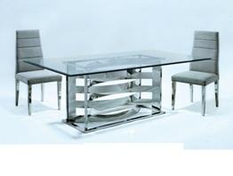 New! Glass Top Dining Table With Stainless Steel Base