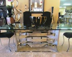 Glass Top Dining Table With Stainless Steel Base
